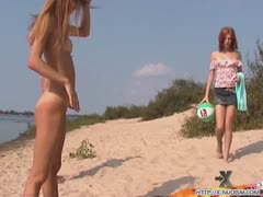 Friendly Young Russian Nudists Lay On The Beach